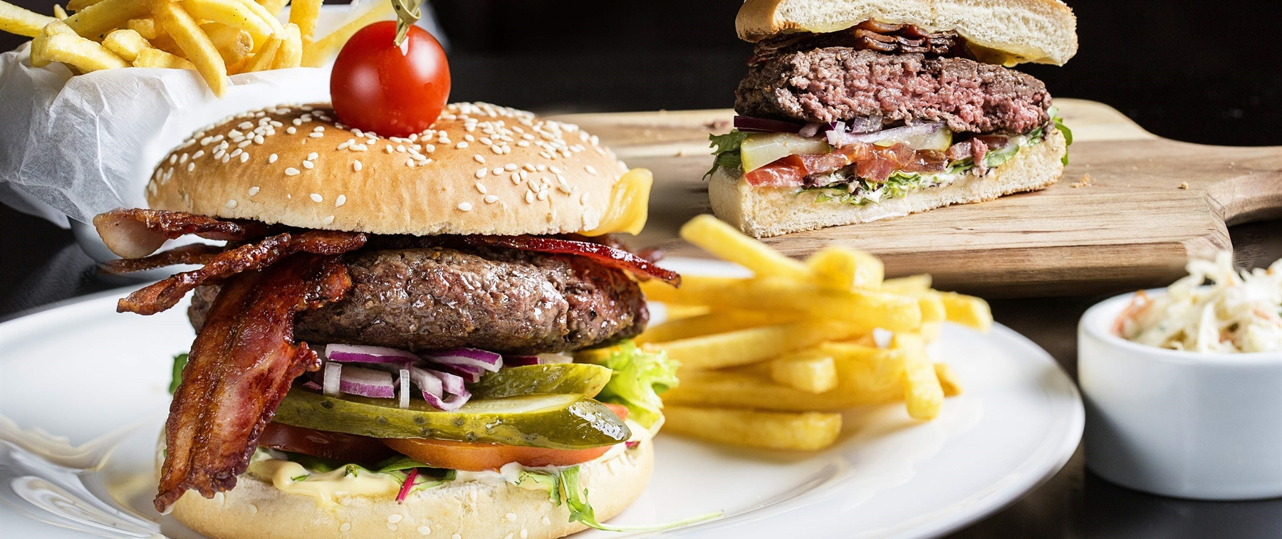Homemade beef burger with fries